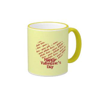 Yellow Heart Valentine Photo Frame Mugs