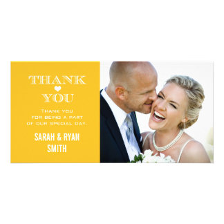 Yellow Heart Wedding Photo Thank You Cards