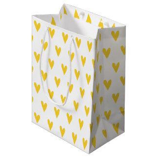 Yellow Hearts Pattern Medium Gift Bag