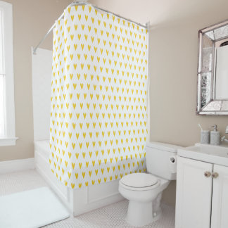 Yellow Hearts Pattern Shower Curtain