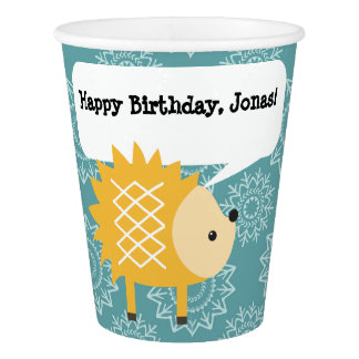 Yellow Hedgehog Personalized Paper Party Cup