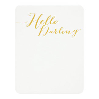 Yellow Hello Darling Flat Note Cards 11 Cm X 14 Cm Invitation Card