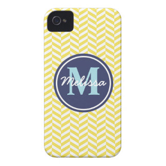 Yellow Herringbone iPhone 4 Case