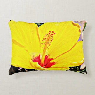 Yellow Hibiscus Accent Pillow