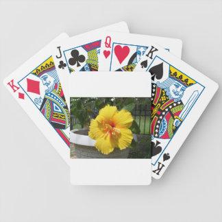 Yellow hibiscus art bicycle poker deck