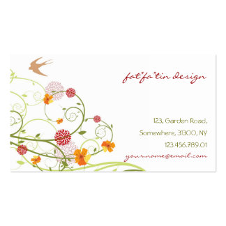 Yellow Hibiscus Chic Floral Swirls Swallows Birds Business Cards