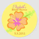 Yellow Hibiscus Customisable Favour Stickers