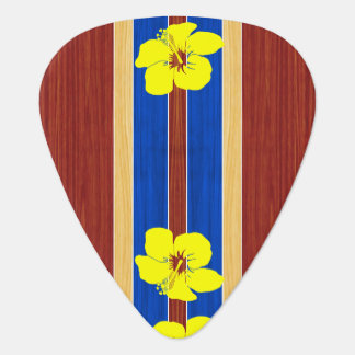 Yellow Hibiscus Fake Wood Surfboard Plectrum