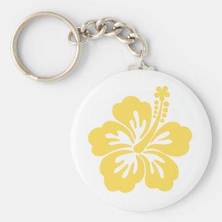 yellow hibiscus flower 11 keychain