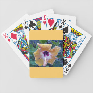 Yellow Hibiscus Flower Bicycle Poker Deck