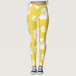 Yellow Hibiscus Leggings