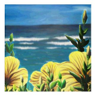 Yellow Hibiscus Overlooking the Ocean Acrylic Print