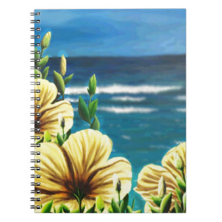 Yellow Hibiscus Overlooking the Ocean Spiral Notebooks