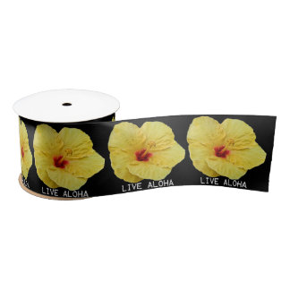 Yellow Hibiscus Satin Ribbon