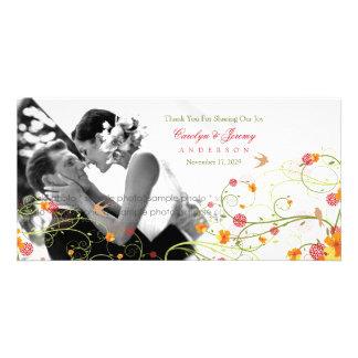 Yellow Hibiscus Swirls Spring Wedding Thank You Customized Photo Card