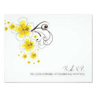 Yellow Hibiscus Tropical Beach Wedding RSVP Card