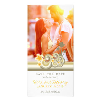 Yellow Hibiscus Tropical Waves Beach Save The Date Picture Card