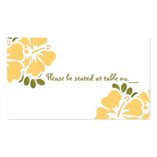 Yellow Hibiscus Wedding Table Place Cards Business Cards