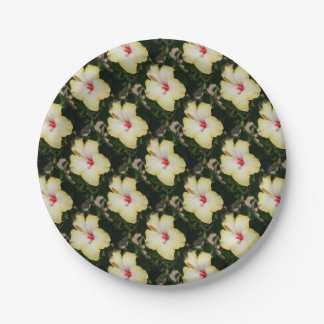 Yellow Hibiscus With Garden Background 7 Inch Paper Plate
