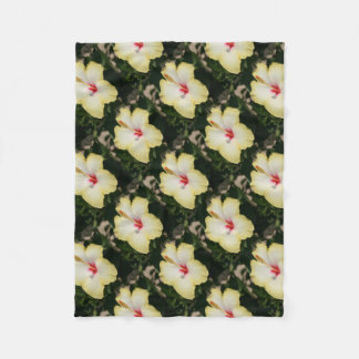 Yellow Hibiscus With Garden Background Fleece Blanket