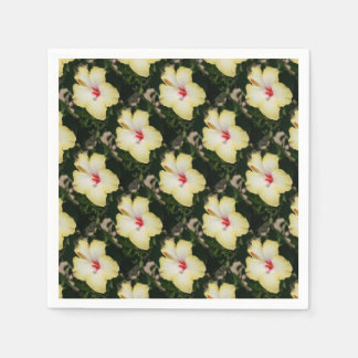 Yellow Hibiscus With Garden Background Paper Serviettes