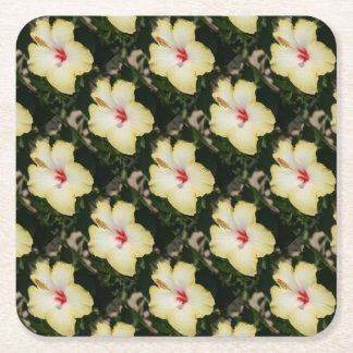 Yellow Hibiscus With Garden Background Square Paper Coaster