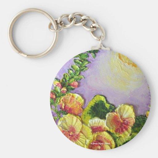 Yellow Hollyhocks Keychain