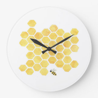 Yellow honeycomb bee wall clock