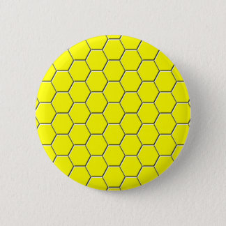 Yellow honeycomb pattern 6 cm round badge
