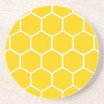 Yellow honeycomb pattern beverage coasters