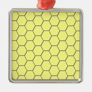 Yellow honeycomb pattern christmas ornament