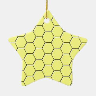 Yellow honeycomb pattern christmas ornament