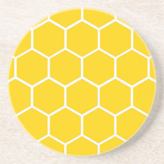 Yellow honeycomb pattern coaster