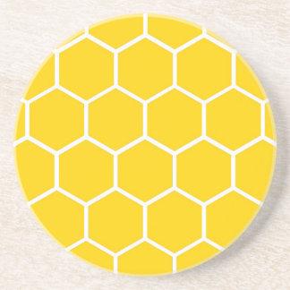 Yellow honeycomb pattern coaster