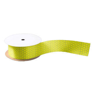 Yellow honeycomb pattern satin ribbon