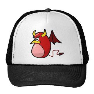 yellow horned red devil bat cap
