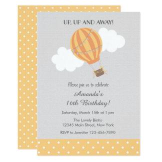 Yellow Hot Air Balloon Birthday Invitation