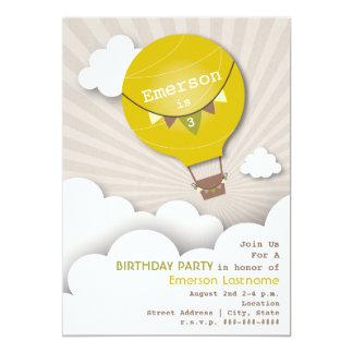 "Yellow Hot Air Balloon & Clouds Kids' Birthday 5"" X 7"" Invitation Card"
