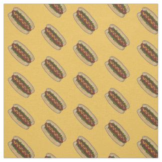 Yellow Hot Dog Dogs Pickle Relish Mustard Fabric