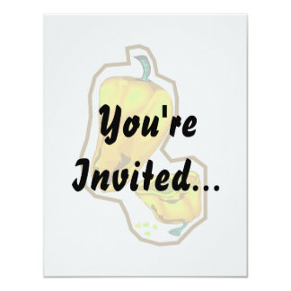 Yellow hot peppers one cut in half 11 cm x 14 cm invitation card