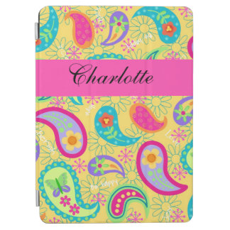 Yellow Hot Pink Modern Paisley Name Personalized iPad Air Cover