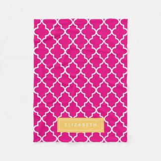 Yellow & Hot Pink Quatrefoil | Fleece Blanket