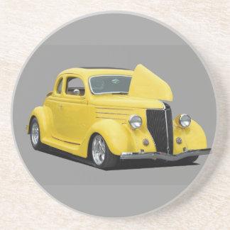 yellow hot rod car coaster