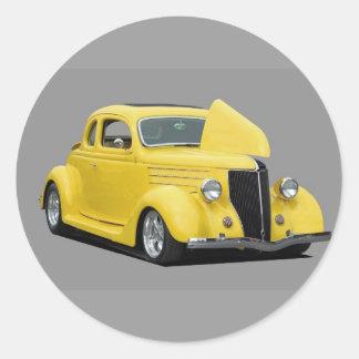 yellow hot-rod car round sticker