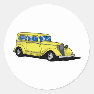 Yellow Hot Rod Classic Round Sticker