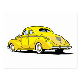 Yellow Hot Rod Coupe Postcard