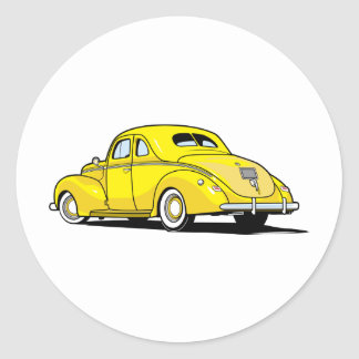 Yellow Hot Rod Coupe Round Stickers