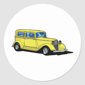 Yellow Hot Rod Round Sticker