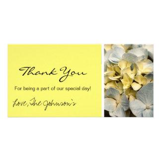 Yellow Hydrangea Wedding Thank You Photo Cards