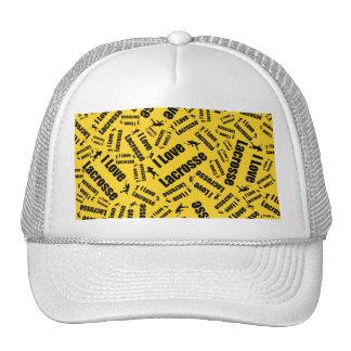 Yellow I love lacrosse Trucker Hats